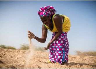 Woman in Senegal shows her dry and salinated paddy (ActionAid)