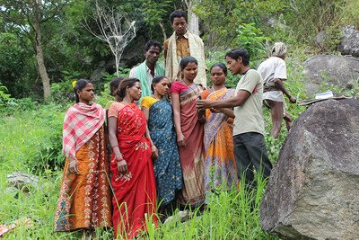 Adivasi women training in using GPS for FRA mapping
