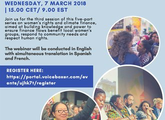 Flyer webinar_womens rights and climate finance_7 March 2018