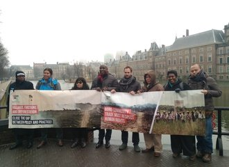 Indigenous leaders and human rights defenders protesting in The Hague, February 2018