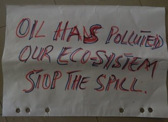 "Protest sign stating ""Oil has polluted our eco-system - Stop the Spill"""