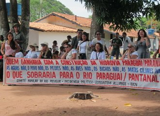 protest against the Hidrovia Paraguay-Parana in Brazil