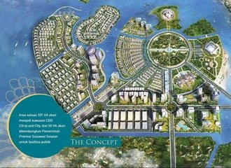 drawin of the land reclamation project in Makassar Bay