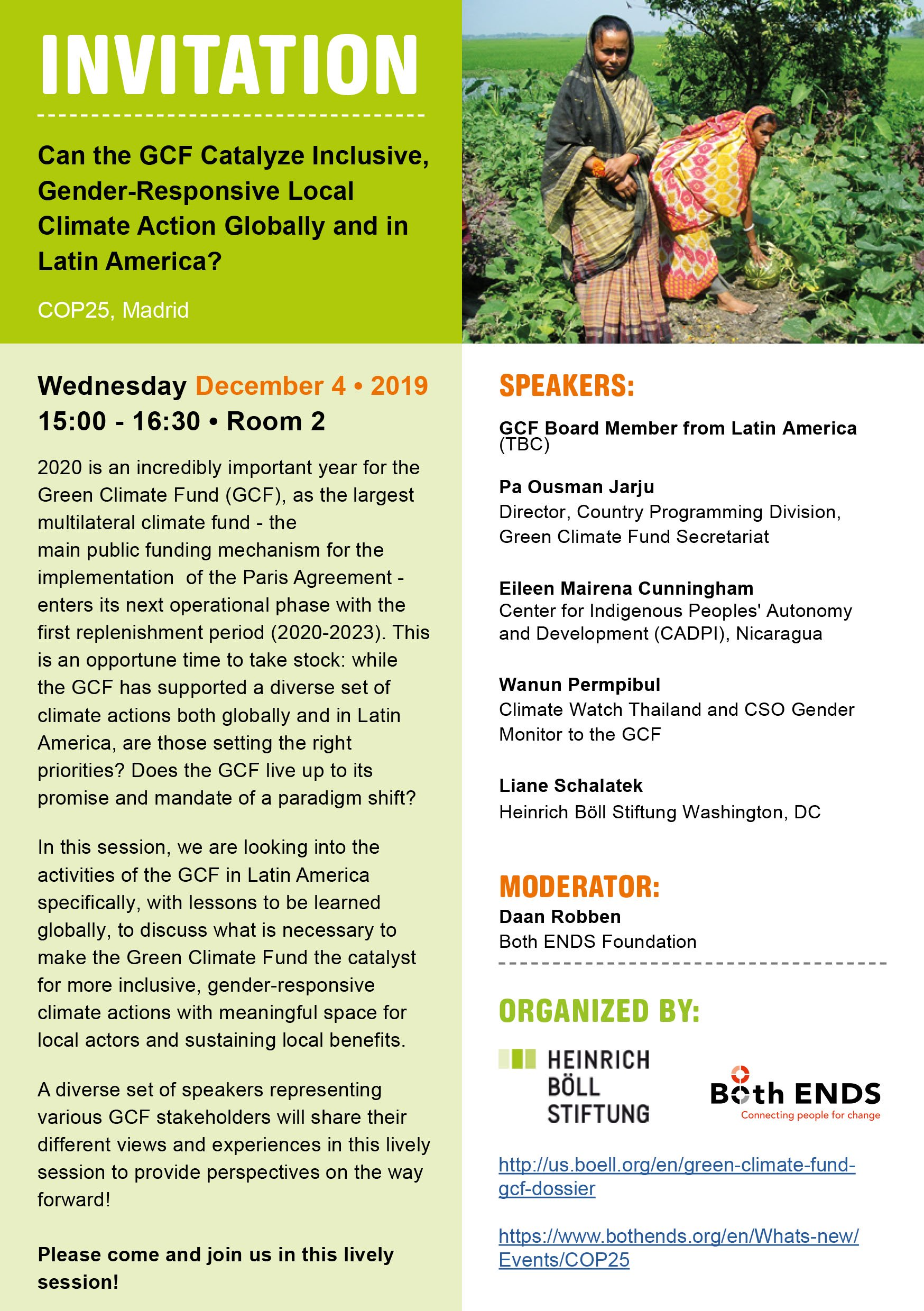 191202_COP 25 Side Event_December 4th_Catalyzing GCF gender-responsive local action